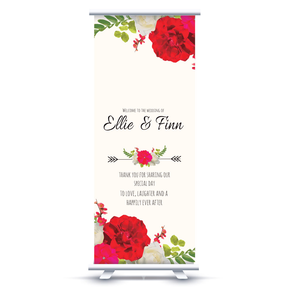 Red Rose Wedding Banner Happily Ever After Print
